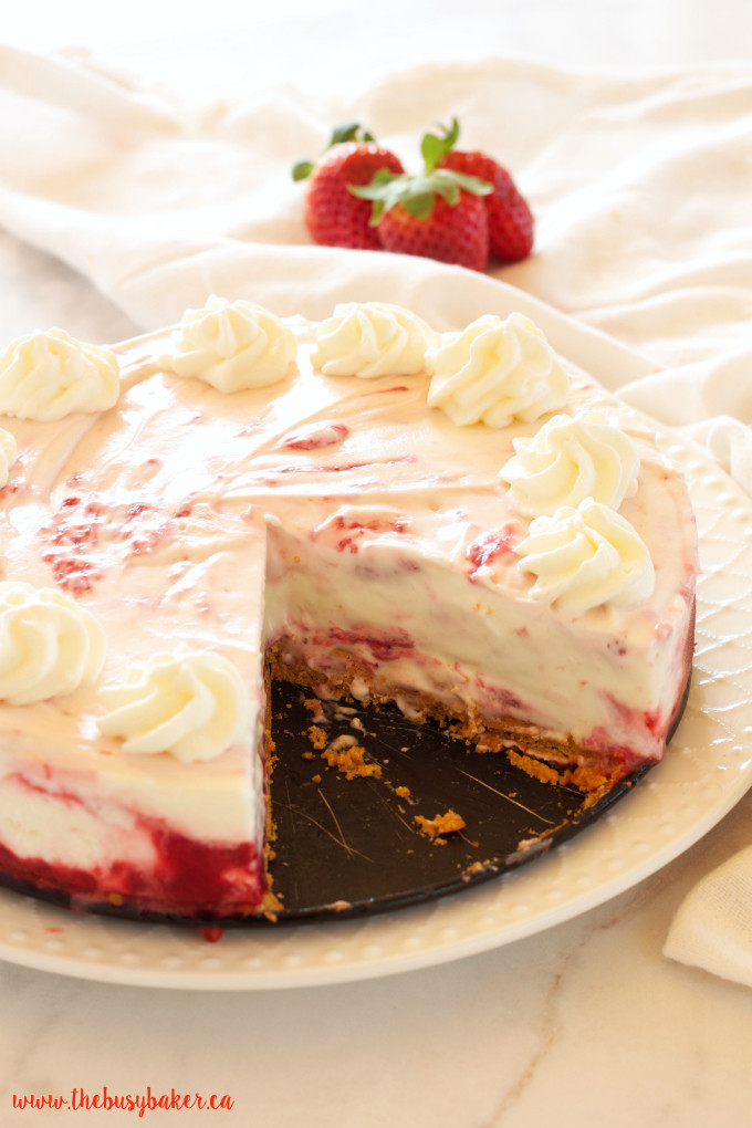 Spring Cheesecake No Bake Easy No Bake Strawberry Swirl Cheesecake The Busy Baker