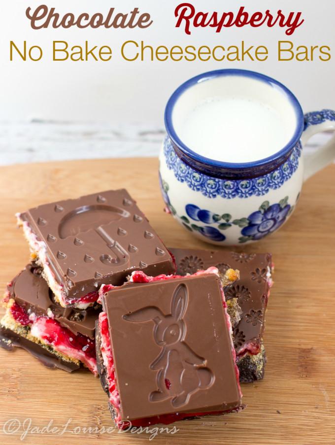 Spring Cheesecake No Bake No Bake Cheesecake bars Raspberry Chocolate Cheesecake Bars